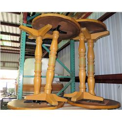 Qty 4 Small Round Wooden Tables w/ Pedestal Base