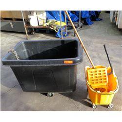Rubbermaid 4608 Cube Truck & Mop Wringer Bucket w/ Mop