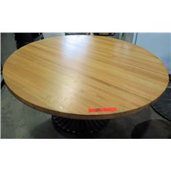 "Qty 4 Round Wood Tables on Metal Pedestal Base 60"" x 31""H"