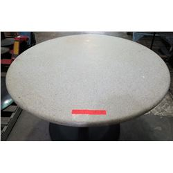 "Qty 3 Round Stone Tables on Metal Pedestal Base 48"" x 30""H"