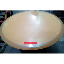 "Qty 4 Round Tan Tables on Metal Pedestal Base 48"" x 30""H"