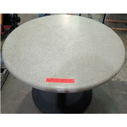 "Qty 3 Round Stone Tables on Metal Pedestal Base 40"" x 30""H"