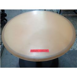 "Qty 3 Round Tan Tables on Metal Pedestal Base 36"" x 26""H"