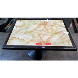 "Qty 4 Square Marble Tables on Metal Pedestal Base 30"" x 42"" x 29""H"