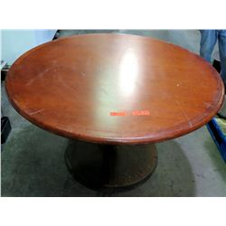 "Qty 2 Round Wood Tables on Metal Pedestal Base 54"" x 30""H"