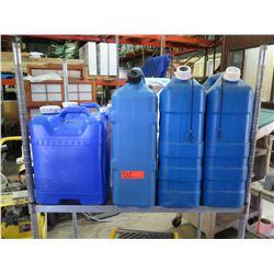 Qty 5+ Blue Plastic Containers w/ Handles & Spout Lids
