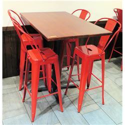 """Bar-Height Pedestal Table (48"""" x 30"""" x 42""""H) w/ 4 Red Metal Chairs"""