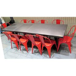 """Wood Laminate Table (8ft x 30"""" x 30.5""""H) w/ 10 Red Metal Chairs"""