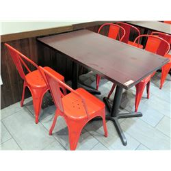 """Wood Laminate Table (48"""" x 30"""" x 30.5""""H) w/ 4 Red Metal Chairs"""