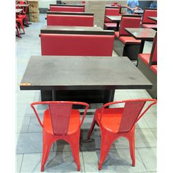 """Row of 4 Tables (48"""" x 30"""" x 30""""H each), 3 Booth Bench Seats & 4 Red Metal Chairs"""