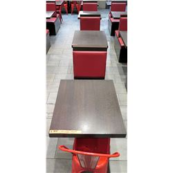 """Row of 4 Tables (30"""" x 24"""" x 30""""H each), 3 Single Booth Bench Seats & 2 Red Metal Chairs"""