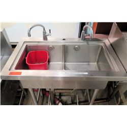 """Stainless Steel Double Sink w/ 2 Faucets 36""""W x 21""""D x 35.5""""H"""