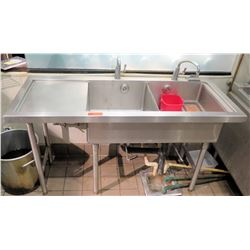 """Freestanding Stainless Steel Double Sink w/ 2 Faucets & Counter 57""""W x 24""""D x 33""""H"""