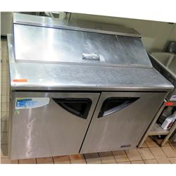 """Turbo Air TST-48SD Double Door Refrigerated Sandwich Prep Table 48"""" x 30"""" x 44"""" back ht"""