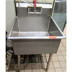 "Stainless Steel Single Sink w/ Faucet 27""W x 27.5""D x 45"" back ht"
