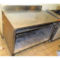 """Stainless Steel Commercial Prep Table w/ Open Front Shelf & Cabinet 48""""W x 30""""D. 35.5"""" surface ht"""