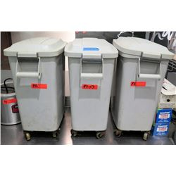 Qty 3 Gray Rolling Heavy Plastic Trash Cans (2-Ft Tall)