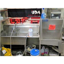 """Jackson Conserver XL Commercial Dishwasher & Double Sink Unit (main unit 74""""L x 30.5""""D, sink unit 56"""
