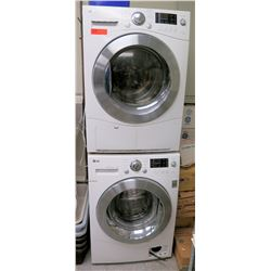 "LG Direct Drive Stacking Front Loading Washer (model WM1355HW) & Dryer (model DLEC855W), 66.5"" Ht St"