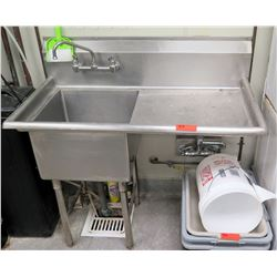 "Freestanding Stainless Steel Double Sink w/ Faucet 44.5"" x 24.5"" x 45"" back ht"