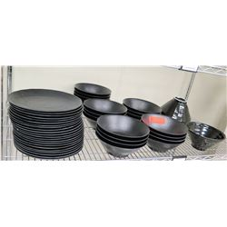Multiple Misc Black Serving Plats & Ramen Bowls