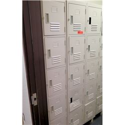 "Metal Locker Unit w/ 15 Individual Locking Compartments (3 vertical units), 1 unit measures 12""W x 1"