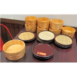 Multiple Misc Wood Bamboo Steamer Baskets w/ Lids & Misc Plates