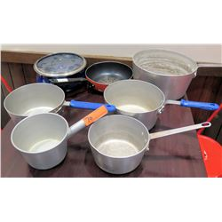 Qty 5 Heavy Duty Cooking Pots, Stew Pot w/ Lid & Frying Pan