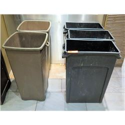 Qty 5 Receptable Bins - 3 Rectangle (Black) & 2 Square (Gray)
