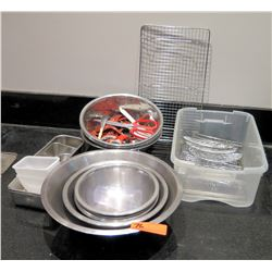 Multiple Misc Stainless Steel Bowls, Cooling Racks, Scissors, etc