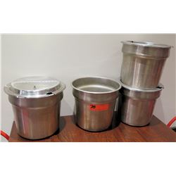 Qty 4 Stainless Steel Soup Insert Containers w/ 3 Lids