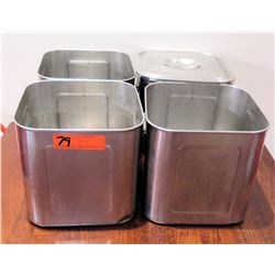 Qty 4 Stainless Steel Square Containers w/ 1 Lid