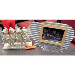 """Corrugated Metal Pig Blackboard & Painted Dancing Pigs Figurine 7.5""""H"""