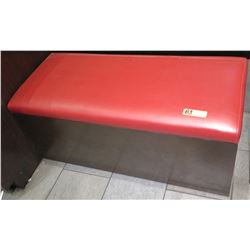 """Black Wood Bench w/ Red Upholstered Seat 41.5"""" x 18"""" x 17.5""""H"""