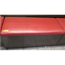 "Black Wood Bench w/ Red Upholstered Seat 41.5"" x 18"" x 17.5""H"