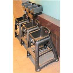 Qty 3 Baby High Chairs & 3 Booster Seats
