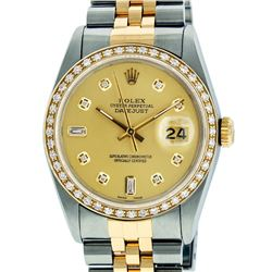 Rolex Mens 2 Tone 14K Champagne Diamond 36MM Datejust Wriswatch