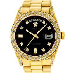 Rolex Mens 18K Yellow Black Diamond Lugs Quickset President Wristwatch With Box