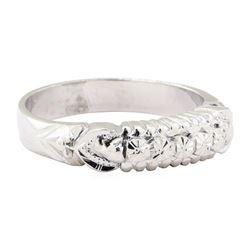 Engraved Straight Line Ring - Platinum