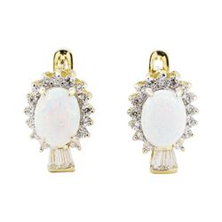Lab Created Opal and Cubic Zirconia Earrings - 14KT Yellow Gold