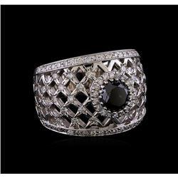 2.36 ctw Black Diamond Ring - 14KT White Gold