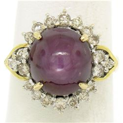 14K Two Tone Gold 11.60 ctw Cabochon Star Ruby & Champagne Diamond Cocktail Ring