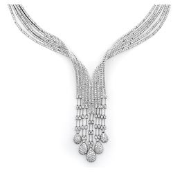 18k White Gold 8.98CTW Diamond Necklace, (SI1/H)