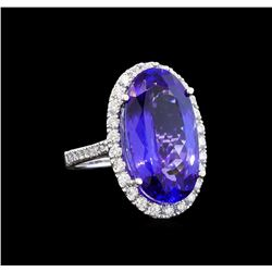 GIA Cert 14.53 ctw Tanzanite and Diamond Ring - 14KT White Gold