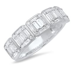 18K White Gold 0.91CTW Diamond Ring, (VS/G)
