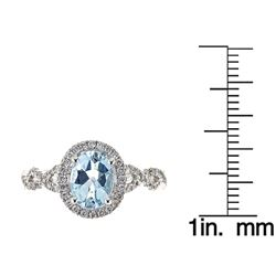 1.02 ctw Aquamarine and Diamond Ring - 14KT Yellow Gold