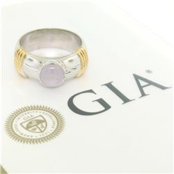 Men's Ribbed 18k Two Tone Gold GIA Certified Round Star Sapphire Solitaire Ring