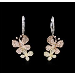 1.25 ctw Diamond Earrings - 14KT Tri-Color Gold