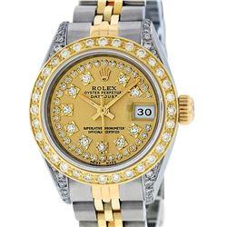 Rolex Ladies 2 Tone 18K Champagne String Diamond Lugs Datejust Wristwatch With R