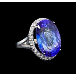 GIA Cert 26.53 ctw Tanzanite and Diamond Ring - 14KT White Gold